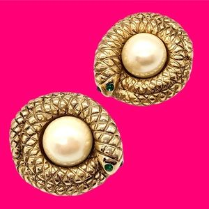 Rare Vintage Erwin Pearl Coiled Snake Earrings 🐍